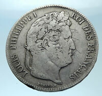 1838 FRANCE King Louis Philippe I French Antique Silver 5 Francs Coin i77917