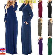 Women Autumn Boho Loose Long Sleeve Maxi Dress Ladies Holiday  Kaftan Long Dress