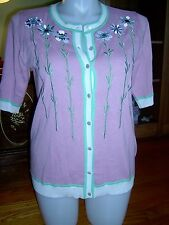 NWOT - BOB MACKE WEARABLE ART- WOMEN'S EMBROIDERED FLORAL CARDIGAN SWEATER - M