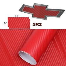 2 PCS Red CARBON FIBER Chevy Bowtie Emblem Overlay Sheets Vinyl Decal Wrap