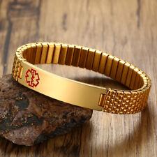 Gold Plated Men's Medical Alert ID Spring Stretch Bracelet Bangle Free Engraving