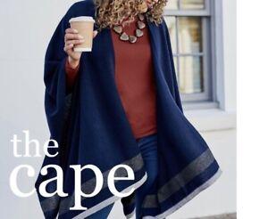 WoolOvers Womens Cashmere Merino Stripe Hem Blanket Wrap Navy/Grey Marl NEW (V)