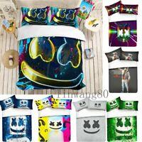 3D DJ Marshmello Mask Design Bedding Set Souvenir Duvet Cover Pillowcases Gift