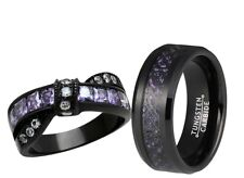 Cz Black Engagement Wedding Ring Set His Tungsten and Her Stainless Steel Purple