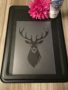 Stag A5 Stencil  Wall Furniture Decor Template  Shabby Chic Reusable Deer Rust