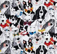 Packed Dogs Patchworkstoffe Stoff Hunde Patchwork Tiermotive Baumwollstoff Tiere
