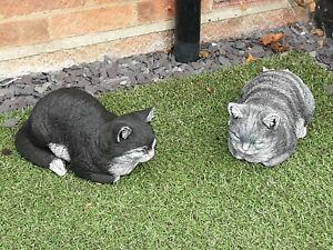 stunning realistic stone black & white sleeping /dreaming cat garden ornament