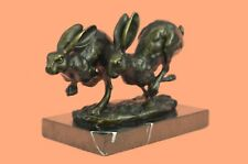 Solid 100% Bronze Hare Sculpture Large Running Hares by Mario Nick Hot Cast Sale