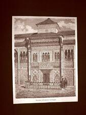 Incisione di Gustave Dorè del 1874 Facciata dell'Alcazar di Siviglia Spagna