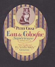 Ancienne étiquette eau de cologne Grasse Petit Chat