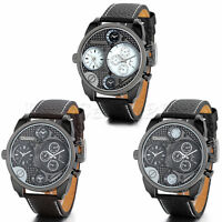 Men's Leather Strap Stainless Steel Military Sport Quartz Analog Wrist Watch