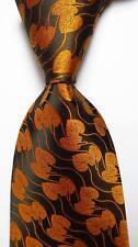 New Classic Floral Gold Black JACQUARD WOVEN 100% Silk Men's Tie Necktie