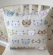 """Fryetts Vintage Cool Cats Geek 16"""" Shabby Chic Cushion Cover"""