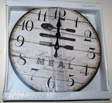 Wall Kitchen Clock - Knife Fork Spoon 'Home Cooked Meal' Design (30cm)