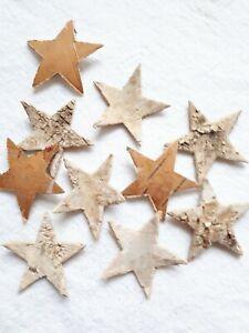 10 x Sterne Birkenrinde natur Landhaus für Weihnachtsdeko Adventskranz 3 cm