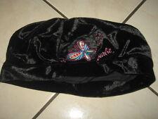 BARBIE Béret noir brodé papillon velours ras 54 cm