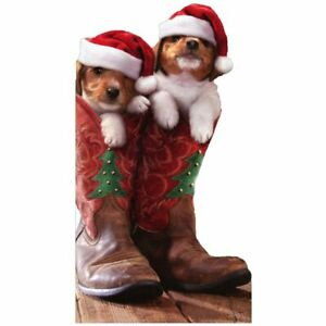 Christmas Puppies in Cowboy Boots Avanti Little Big Funny Dog