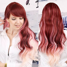 Harajuku Long Curly Wavy Pink Gradient Hair Ombre Full Wig Costume Party Cosplay