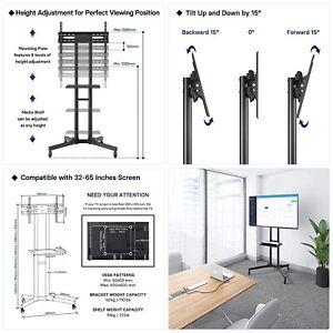 "BONTEC Moile TV Stand for 32""-65"" LCD LED OLED Plasma Screen, Height adjustable"
