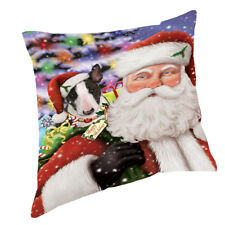 Jolly Old Saint Nick with Bull Terrier Dog Throw Pillow 14x14