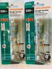 Sylvania Rough Service 500W Halogen 1T3 Bulb Indoor 2 Pack Free Ship
