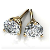 3.00 Ct Round Cut Solitaire Diamond Earring 14K Yellow Gold VVS1 Studs #1