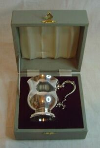 Silver Plated Made In England Cased Baby Christening Miniature Tankard Mug Cup