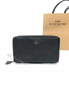 NWT New Coach F23334 Unisex Double Zip Travel Organizer Wallet Leather Black 295