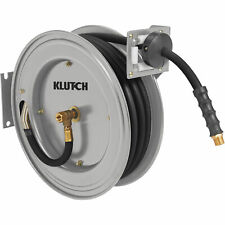 Klutch Auto Rewind Air Hose Reel - With 1/2in. x 50ft. Rubber Hose, 300 PSI