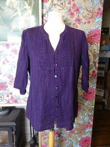Ladies Top Blouse Debenhams Casual Collection Grandad Collar Purple Size 16