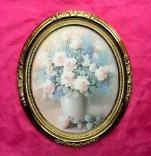 Gorgeous Home Interior Heavenly Roses in Vase Signed Picture - Nice!