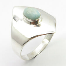Republic Ring Size 10.5 New Art 925 Pure Sterling Silver Larimar from Dominican