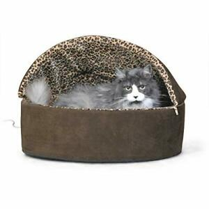 """K&H PET PRODUCTS Thermo-Kitty Deluxe Hooded Cat Bed Large 20"""" 4W Mocha Leopard"""