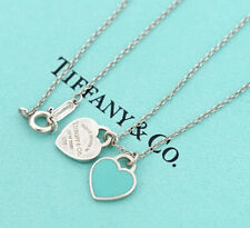 TIFFANY&Co Double Heart Tag Necklace Blue Enamel Silver 925