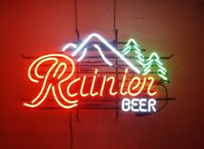 """Rainier Beer Mountain Jokul Tree Neon Light Sign 32""""x24"""" Lamp Poster Beer Bar"""