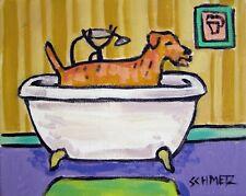irish terrier taking a bath bathroom dog  art print 8.5x11