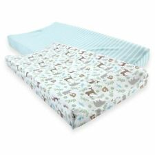 Touched By Nature Boy and Girl Organic Cotton Changing Pad Cover, 2-Pack, Forest