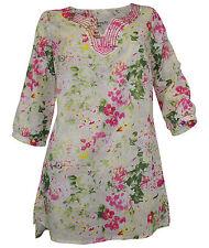 Geblümte Lockre Sitzende Damenblusen,-Tops & -Shirts mit Rundhals und Baumwolle