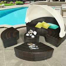 Costway 2-in-1 Outdoor Retractable Canopy Daybed - Black/Beige