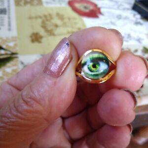 Goldtone Georgian Style Lovers eye ring costume jewellery UK size k 1/2