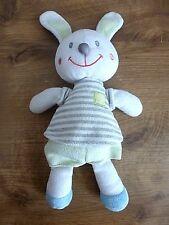 Nicotoy Peluche doudou lapin blanc vert bleu t-shirt à rayures Simba Kiabi