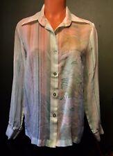 Dog Ear Vintage Sheer Mod Boho Hippie Sailboat Top Gauze Cotton Blouse Shirt M