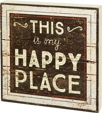 """PRIMITIVE WOOD BOX SIGN~""""THIS is my HAPPY PLACE""""~Shelf Sitter/Wall Art~Picture"""