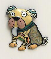 Adorable artistic bull dog Pin large Brooch Pin enamel on Metal