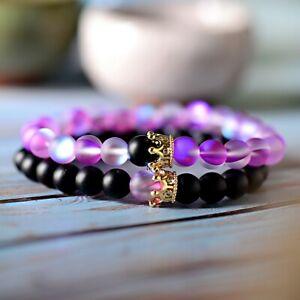 8mm Aura Quartz Stone Lover Crown Couples Distance Bracelets Sets For Men Women