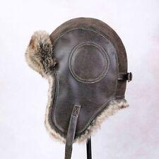 Men faux Leather Aviator Trapper Hat Cap Flying Fur Winter Warm Vintage Beanie