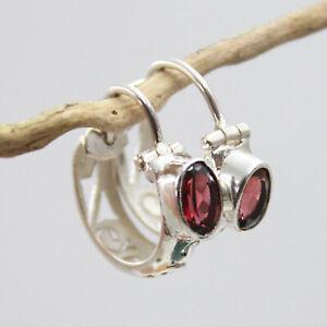Granat Creolen Ohrringe Silber 925 Ohrhänger 15mm Cutstone Rot filigran