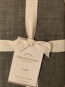 Pottery Barn Belgian Linen Sham Made with Libeco Linen Stand Shale New!