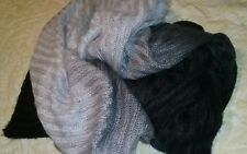 "Brylane Home Soft Acrylic Ombre Black Gray Throw Blanket 55""x72"""