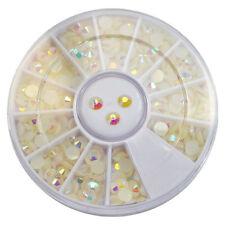 3 Sizes AB Rainbow White Foil Beads Gems Nail Art Acrylic UV Gel Tips DIY Deco